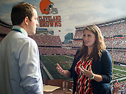 The Cleveland Browns were represented this year at the Ohio University Sports Administration Career Fair.  They were interviewing students for potential sales employees in the future. Photo by Elizabeth Held
