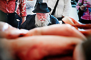 Napoli, Italia - 23 maggio 2010. L'artista viennese Hermann Nitsch durante una performance all'interno del museo Nitsch di Napoli..Ph. Roberto Salomone Ag. Controluce.ITALY - Performance of contemporary artist Hermann Nitsch (in the picture) at Nitsch museum in Naples on May 23, 2010.