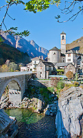 Stone bridge leading to an old town in Valle Verzasca, Ticino, Southern Switzerland.
