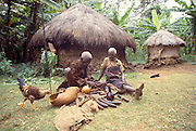 KENYA, KIKUYU PEOPLE a shaman or witch doctor of the Kikuyu tribe displaying his mystical fetishes at his compound in the Kenyan highlands