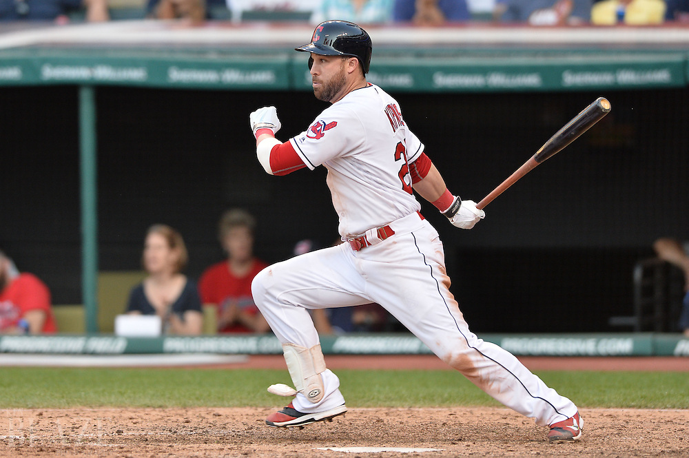 Sep 4, 2016; Cleveland, OH, USA; Cleveland Indians second baseman Jason Kipnis (22) hits an RBI single during the seventh inning against the Miami Marlins at Progressive Field. Mandatory Credit: Ken Blaze-USA TODAY Sports