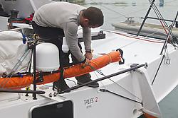 "La Coruña ,Spain. Spanish Class 40 ""Tales Sanatander 2014"" stops to repair the starboard rudder bearing"