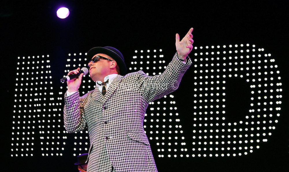 Suggs of Madness performs live on stage during Madstock festival 2009 at Victoria Park on July 17, 2009 in London, England.  (Photo by Simone Joyner)