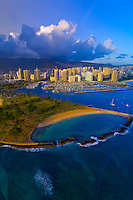 Aerial view of Ala Moana Regional Park (Magic Island) with Ala Wai Yacht Harbor and Waikiki in back, Honolulu, Oahu, Hawaii, USA