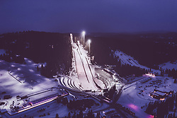 THEMENBILD - die Skisprungschanzen des Granasen Skicenters am Abend mit Kunstlicht , aufgenommen am 13. Maerz 2019 in Trondheim, Norwegen // the ski jumping hills of the Granasen Skicenter in the evening with artificial light, Trondheim, Norway on 2018/03/13. EXPA Pictures © 2019, PhotoCredit: EXPA/ JFK