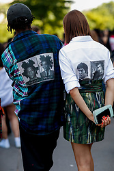 Street style, arriving at Off White Spring-Summer 2019 menswear show held at Palais de Chaillot, in Paris, France, on June 20th, 2018. They are wearing Usure Project shirts. Photo by Marie-Paola Bertrand-Hillion/ABACAPRESS.COM