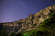 The frontview of the Table Mountain at night, Cape Town, South Africa/