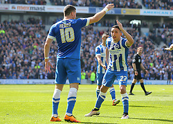 Anthony Knockaert ( R ) of Brighton & Hove Albion celebrates with Tomer Hemed after he scores to make it 2-1 - Mandatory by-line: Paul Terry/JMP - 02/04/2016 - FOOTBALL - Amex Stadium - Brighton, England - Brighton and Hove Albion v Burnley - Sky Bet Championship