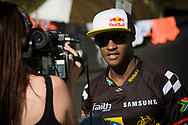 # 105 (NHLAPO Sifiso) RSA getting interviewed at the UCI BMX Supercross World Cup in Santiago del Estero, Argintina.