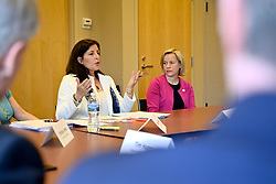 Hope Grosse , co-founder of Buxmont Coalition of Safe Water speaks during a roundtable discussion on per- and polyfuoroalkyl substances or PFAS pollution with Sen. Bob Casey, D-Pa and Sen. Tom Carper, D-De at Horsham Township Library, in Horsham, PA, on April 8, 2019. The health crisis affects tens of thousands of residents in Bucks and Montgomery Counties in Eastern Pennsylvania.