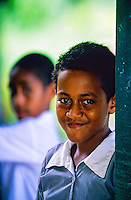 Girl at primary school, Yanuya Village, Yanuya Island, near Tokoriki Island Resort, Mamunucas, Fiji Islands