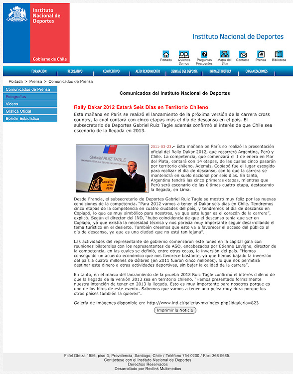 Conference de presse du Dakar sur le site du Ministère des Sports Chilien.