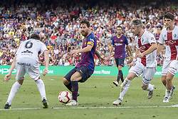 September 2, 2018 - Barcelona, Catalonia, Spain - Leo Messi in action during the spanish league La Liga match between FC Barcelona and SD Huesca at Camp Nou Stadium in Barcelona, Catalonia, Spain on September 02, 2018  (Credit Image: © Miquel Llop/NurPhoto/ZUMA Press)