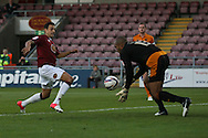Picture by David Horn/Focus Images Ltd +44 7545 970036.30/08/2012.Alex Nicholls of Northampton Town and Wolverhampton Wanderers goalkeeper, Carl Ikeme during the Capital One Cup match at Sixfields Stadium, Northampton.