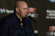"MANCHESTER, ENGLAND, NOVEMBER 26, 2013: Dana White is pictured at the post-fight press conference for ""UFC Fight Night 30: Machida vs. Munoz"" inside Phones4U Arena in Manchester, England (© Martin McNeil)"