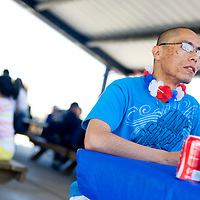 042213       Brian Leddy<br /> Jason Silversmith enjoys a can of soda during a welcome home reception for him Monday in Gallup.  Silversmith received a warm welcome from friends and family after returning home from a tour of duty in Afghanistan.