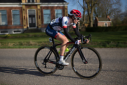 Nicole Hanselmann (SUI) of Cervélo-Bigla Cycling Team works hard to regain contact with the main peloton in the penultimate lap of Stage 1b of the Healthy Ageing Tour - a 77.6 km road race, starting and finishing in Grijpskerk on April 5, 2017, in Groeningen, Netherlands.
