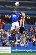 Birmingham City midfielder David Davis (26) beats Sheffield United midfielder Mark Duffy (21) to a header during the EFL Sky Bet Championship match between Birmingham City and Sheffield United at St Andrews, Birmingham, England on 21 April 2018. Picture by Alan Franklin.
