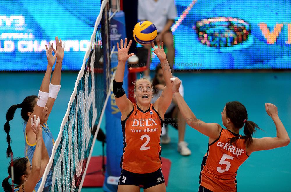 23-09-2014 ITA: World Championship Nederland - Kazachstan, Verona<br /> Nederland wint de opening wedstrijd met 3-0 / Femke Stoltenborg, Robin de Kruijf