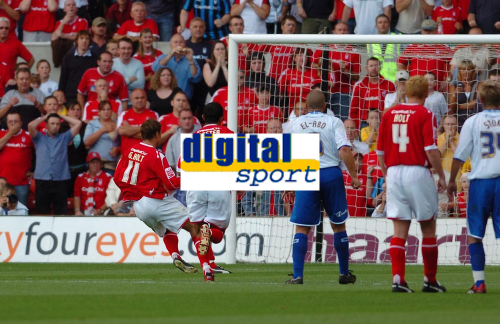 Photo: Leigh Quinnell.<br /> Nottingham Forest v Brighton &amp; Hove Albion. Coca Cola League 1. 19/08/2006. Nottingham Forests Grant Holt puts away a penalty.