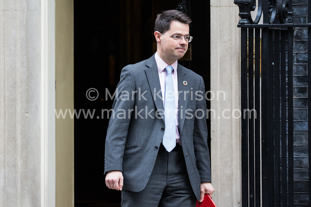 London, UK. 12th February, 2019. James Brokenshire MP, Secretary of State for Housing, Communities and Local Government, leaves 10 Downing Street following a Cabinet meeting.