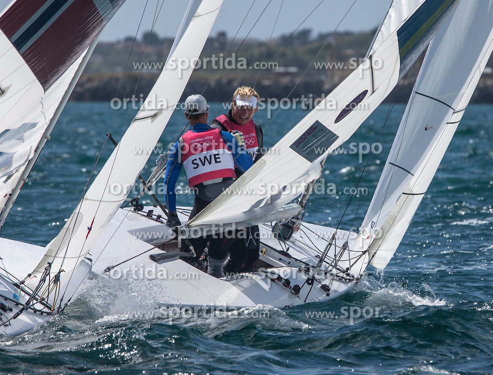 05.08.2012, Bucht von Weymouth, GBR, Olympia 2012, Segeln, im Bild We won!!!.Loof Fredrik, Salminen Max, (SWE, Star) // during Sailing, at the 2012 Summer Olympics at Bay of Weymouth, United Kingdom on 2012/08/05. EXPA Pictures © 2012, PhotoCredit: EXPA/ Daniel Forster ***** ATTENTION for AUT, CRO, GER, FIN, NOR, NED, POL, SLO and SWE ONLY!