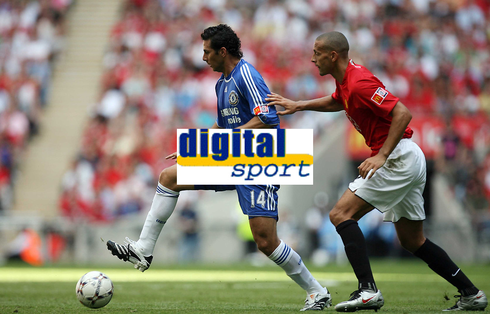 Photo: Rich Eaton.<br /> <br /> Manchester United v Chelsea. FA Community Shield. 05/08/2007. Chelsea's Claudio Pizarro (l) keeps the ball away from Rio Ferdinand.