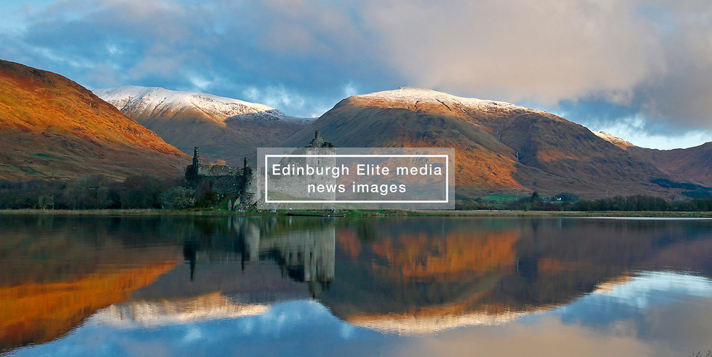 Kilchurn Castle, Loch Awe, Argyll in full autumn colours with the first snow fall on the summits of the Cruachan range... (c) Stephen Lawson | Edinburgh Elite media