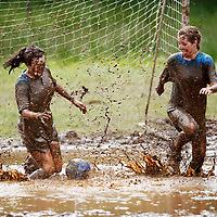 Women Swamp footballers in action at the 3rd Swamp Soccer New World Championships in Strachur, Argyll. Scotland