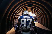 Indianapolis Colts Reggie Wayne waits in the tunnel to be introduced with the starting offense in the game against the Saints.  Indianapolis hosted New Orleans in their third preseason game of the year Saturday, August 23, 2014 at Lucas Oil Stadium.