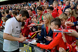 DUBLIN, REPUBLIC OF IRELAND - Saturday, August 5, 2017: Liverpool's Jon Flanagan signs autographs for the supporters after a preseason friendly match between Athletic Club Bilbao and Liverpool at the Aviva Stadium. (Pic by David Rawcliffe/Propaganda)