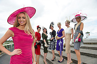 Rosanna Davison, guest judge for Anthony Ryan?s Best Dressed Lady Competition at the Galway Races Summer Festival  gets some advice from previous winners of the competition Mary Doyle ( 2004), Carol Kennelly ( 2008 ), Suzanne McGarry ( 2011), Niamh O?Donovan ( 2003 ), Ann Marie O?Leary ( 2010 )  and Jill Macken ( 2006). Photo:Andrew Downes