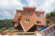 NINGBO, CHINA - JUNE 14: (CHINA OUT) <br /> <br /> The villa stands upside down at Yantou village on June 14, 2016 in Ningbo, Zhejiang Province of China. The upside-down villa covered an area of over 3,000 square-meters in Yantou village, Ningbo. Within everything set upside down, the villa was designed to challenge visitors sense of balance and let them know better of gravity<br /> ©Exclusivepix Media