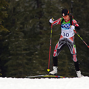 Winter Olympics, Vancouver, 2010.Megan Imrie, Canada, in action during the Women's 7.5 KM Sprint Biathlon at The Whistler Olympic Park, Whistler, during the Vancouver  Winter Olympics. 13th February 2010. Photo Tim Clayton