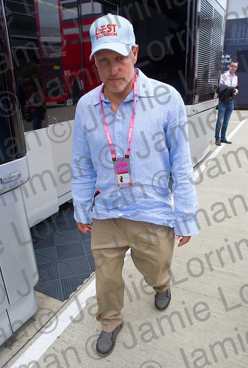 The 2017 Formula 1 Rolex British Grand Prix at Silverstone Circuit, Northamptonshire.<br /> <br /> Pictured: Actor Woody Harrelson walks through the Formula 1 paddock at the British Grand Prix, Silverstone.<br /> <br /> Jamie Lorriman<br /> mail@jamielorriman.co.uk<br /> www.jamielorriman.co.uk<br /> +44 7718 900288