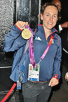 LONDON - August 07: Sophie Hosking celebrates with her Olympic Gold Medal at The Rose Club in London (Photo by Brett D. Cove)