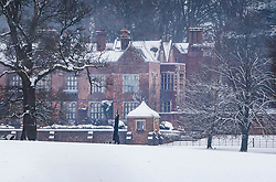 © Licensed to London News Pictures. 01/02/2019. Chequers, UK. A blanket of snow covers Chequers, in Buckinghamshire, the country house of the Prime Minister after overnight snow falls and continuing low temperatures. Photo credit: Peter Macdiarmid/LNP