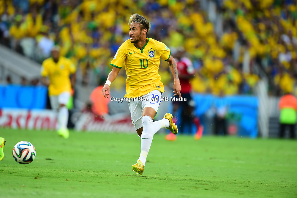 Neymar. Brazil v Colombia, quarter-final. FIFA World Cup Brazil 2014. Castelao stadium, Fortaleza. 4 July 2014.