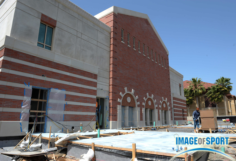 Apr 5, 2012; Los Angeles, CA, USA; General view of the construction of the John McKay Center on the campus of the University of Southern California. The facility will house meeting rooms, coaches offices, an indoor football field and a locker room, along with an academic center, weight room, athletic training room and state-of-the-art digital media production facility for the 21 athletic teams.