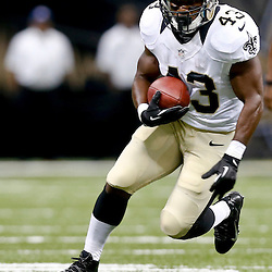 Aug 16, 2013; New Orleans, LA, USA; New Orleans Saints running back Darren Sproles (43) against the Oakland Raiders during the first quarter of a preseason game at the Mercedes-Benz Superdome. Mandatory Credit: Derick E. Hingle-USA TODAY Sports