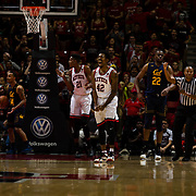 09 December 2017:  The San Diego State men's basketball team hosts the California Golden Bears Saturday afternoon. San Diego State Aztecs guard Jeremy Hemsley (42) screams in joy after drawing the foul while late in the second half. The Aztecs lost 63-62 to Cal.<br /> www.sdsuaztecphotos.com
