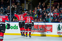 KELOWNA, CANADA - NOVEMBER 29: Carsen Twarynski #18 and Dillon Dube #19 of the Kelowna Rockets celebrate a first period goal against the Prince George Cougars on November 29, 2017 at Prospera Place in Kelowna, British Columbia, Canada.  (Photo by Marissa Baecker/Shoot the Breeze)  *** Local Caption ***
