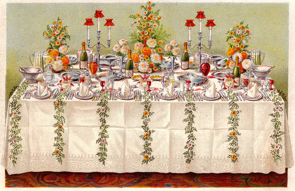 Table covered with a linen cloth and set for a buffet for ball or an evening party. Oleograph from 'Household Management' by Isabella Beeton (London, 1906).