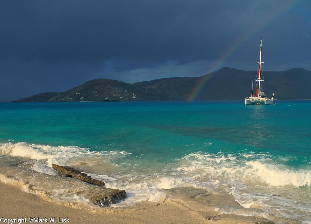 Sailboat and raindow, Brittish Virgin Islands.