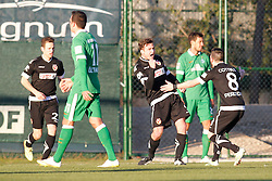 09.01.2015, Hotel Regnun Carya, Belek, TUR, FS Vorbereitung, Fussball Testspiel, SV Werder Bremen vs FC Energie Cottbus, im Bild Fabian Pawela (FC Energie Cottbus #9 - mitte) und Fanol Perdedaj (FC Energie Cottbus #8) beim Torjubel nach dem Treffer zum 2:1 mit Winterneuzugang Levin Oeztunali (SV Werder Bremen #11 - links) // during a international football frindly match between SV Werder Bremen vs FC Energie Cottbus at the Hotel Regnun Carya in Belek, Turkey on 2015/01/09. EXPA Pictures © 2015, PhotoCredit: EXPA/ Eibner-Pressefoto/ Schueler<br /> <br /> *****ATTENTION - OUT of GER*****