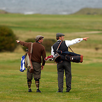 The PGA World Hickory Golf Open is being held at Gullane Golf Club on Thursday and Friday, 24th and 25th September 2009 featuring professional golf champions and amateurs in traditional 1930s period costume with six pre-1936 hickory shafted clubs in pencil golf bags...Picture shows a hickory golfers on the course.