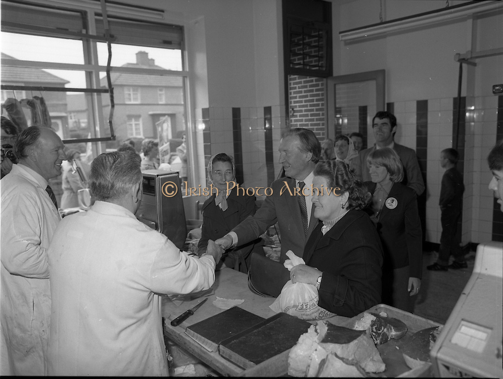 15/05/1982<br /> 05/15/1982<br /> 15 May 1982<br /> An Taoiseach, Mr Charles Haughey, canvasing with Fianna Fail bye-election candidate Eileen Lemass in Dublin West. Image shows An Taoiseach (centre) canvasing  in Ballyfermot, here meeting the local butchers.