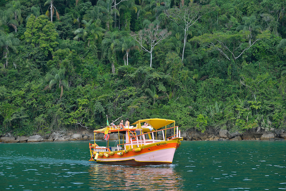 Boat tour off the town of Paraty, Rio de Janeiro Province, Brazil, South America