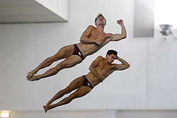 Jack Laugher and Chris Mears of City of Leeds Diving Club compete in the Mens 3m Synchro Final - Photo mandatory by-line: Rogan Thomson/JMP - 07966 386802 - 20/02/2015 - SPORT - DIVING - Plymouth Life Centre, England - Day 1 - British Gas Diving Championships 2015.