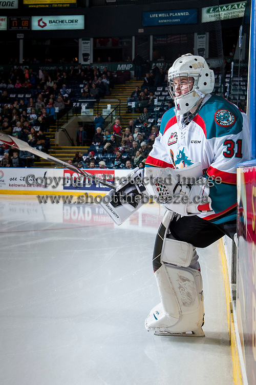 KELOWNA, CANADA - MARCH 10: Brodan Salmond #31 of the Kelowna Rockets enters the ice for second period against the Vancouver Giants on March 10, 2017 at Prospera Place in Kelowna, British Columbia, Canada.  (Photo by Marissa Baecker/Shoot the Breeze)  *** Local Caption ***